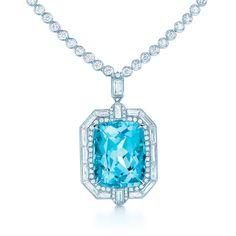 Pendant in platinum with a 16.88-carat cushion-cut blue cuprian elbaite tourmaline and diamonds. #TiffanyPinterest #TiffanyBlueBook