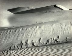 Dunes, Oceano, 1936  Edward Weston (American, 1886–1958)  Gelatin silver print    The shapes of the peppers Weston photographed became women, his women became landscapes, and his landscapes emerged with attributes of all living nature. Whether the forms in this picture resemble waves, backs, buttocks, or breasts is immaterial. They are made of shifting sand, and that is the subject of the picture.