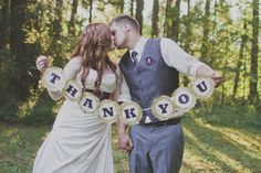 """DIY """"Thank You"""" banner. Brilliant idea to capture this wedding day photo to use on thank you cards!   Photo by crystalmariesing.ca"""
