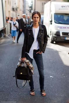 Ameline Valade in leather   denim~#Repin By:Pinterest++ for iPad#