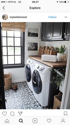 This would be awesome too with teal cabinets Storage Shelves Ideas Laundry room decor Small laundry room organization Laundry closet ideas Laundry room storage Stackable washer dryer laundry room Small laundry room makeover A Budget Sink Load Clothes Farmhouse Laundry Room, Laundry In Bathroom, Basement Laundry, White Bathroom, Vintage Laundry Rooms, Master Bathroom, Laundry Area, Small Bathroom, Laundry In Kitchen