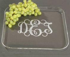 Personalized Acrylic Tray This square acrylic snack tray makes the perfect hostess gift. Have it monogrammed for a special touch. Script engraving shown. x Not dishwasher safe. Wedding Gifts Online, Custom Wedding Gifts, Personalized Wedding Gifts, Vinyl Monogram, Monogram Gifts, Vinyl Crafts, Vinyl Projects, Acrylic Glassware, Monogrammed Glasses