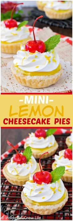 Mini Lemon Cheesecake Pies - sweet little hand held pies filled with a cheesecake and lemon pie filling swirl. Great dessert recipe for spring parties! Lemon Dessert Recipes, Homemade Desserts, Great Desserts, Lemon Recipes, Mini Desserts, Sweet Recipes, Delicious Desserts, Simple Recipes, Lemon Cheesecake