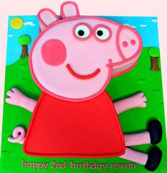 birthday cake for Rowan who loves Peppa Pig. Pig Birthday Cakes, Happy Birthday Baby, 4th Birthday Parties, 3rd Birthday, Birthday Ideas, Cake Templates, Pig Party, Cute Cakes, Peppa Pig