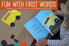 "Toddler Approved!: Fun with First Words {Language Activities for Kids}-sponsored by Cara Speech Therapy.  When children are learning to speak many struggle to produce final consonants as they learn their first words- they may say ""uh"" instead of ""up"" or ""bo"" instead of ""boat."" This can cause frustration as they try and express themselves and communicate! I am always looking for ways to decrease frustration and increase language development, so I am excited about the activities share..."
