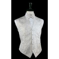 Tapestry Pattern Silk Tuxedo Vest (White) - 100% Silk