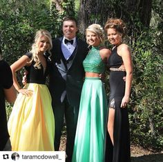 **Customer Spotlight**🔦 We've got 2 gorgeous French Novelty customers in this picture that stopped the show on prom night! Shoutout to @taramcdowell_  in @tiffanydesignsofficial (far left) and @haileecam in @macduggal (far right). Thanks ladies for allowing us to be a part of your special day! 💕 #tiffanydesigns #frenchnovelty #macduggal #prom2k17 #promdress #customerappreciation