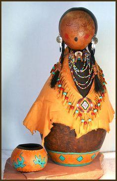 Still Water Designs Gourd Art by Norma - Gourd Dolls, Gourd Masks, Gourd Jewelry, Gourd Boxes Decorative Gourds, Hand Painted Gourds, Pattern Art, Art Patterns, Native American Dolls, Cardboard Art, Navajo, Southwest Art, Paperclay