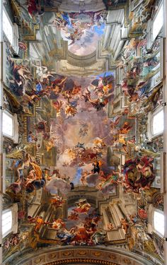 Trompe l'oeil ceiling fresco by Andrea Pozzo. The ceiling is completely flat, including the dome. This masterpiece is the nave ceiling of the Church of Sant'Ignazio in Rome.