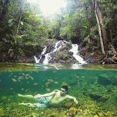 from - Gurok beraye waterfall belitung island - indonesian Crystal water with little fish :) Belitung, Gopro Hero 4, Little Fish, Best Vacations, Golf Courses, Waterfall, Island, Crystal, Beach