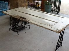 Have legs and door maybe I need this in the office for printer and computer instead of rolling carts. but I love my rolling carts. Repurposed Items, Repurposed Doors, Shabby Chic Decor, Rustic Decor, Furniture Decor, Painted Furniture, Door Desk, Console, Old Headboard