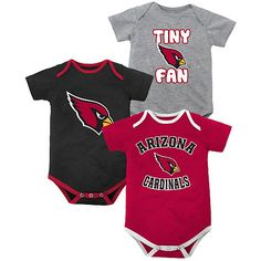 5a24748149eb Newborn Arizona Cardinals 3 Piece Creeper Set (0 3M - 6 9m)
