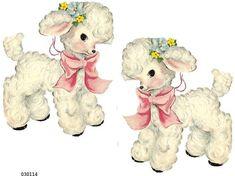 Vintage Images, French Vintage, Vintage Style, Baby Lamb, Flower Nursery, Nursery Decals, Baby Bunnies, Vintage Easter, Thing 1