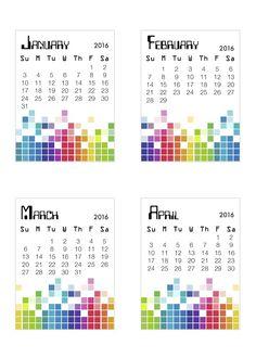 Free 2016 Pixel Calendar from scrappystickyinkymess
