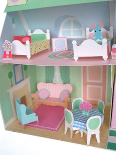 OMG - when I have a daughter, we will do this together!  Awesome printable paper doll house furniture!