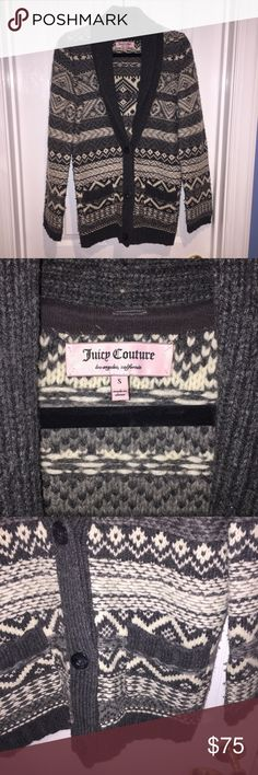 Juicy Couture cardigan Juicy Couture cardigan - white and grey aztec pattern. 3 buttons up the front, size small. Juicy Couture Sweaters Cardigans