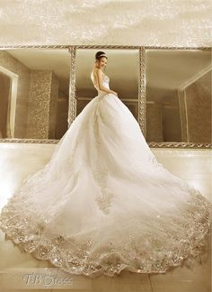 Luxurious Ball Gown Strapless Beads Cathedral Train L ace-up Wedding Dress : Tbdress.com