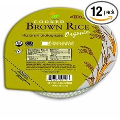 Steamed Brown Rice Bowl, Organic, Microwaveable, 7.4-Ounce Bowls (Pack of 12), (brown rice, fast, delicious, food, rice, health, quick, green 3, rice dishes, rice bowls)