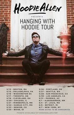 """NEWS: The hip hop artist, Hoodie Allen, has announced the """"Hanging With Hoodie Tour"""" across the U.S. from May 13 to June 7. More cities will also be announced later on. You can check out the dates and details at http://digtb.us/hangingwithhoodie"""