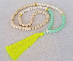 Neon tassel necklace  Mint resin beads white by Brightnewpenny