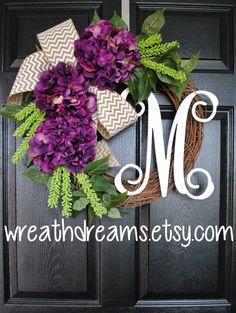 Light Purple Hydrangea Grapevine Wreath with by WreathDreams