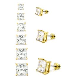 Mens & Ladies Gold Plated Square Lab Diamond Studs Screwback Earrings 3 to 8mm - Jewelry For Her