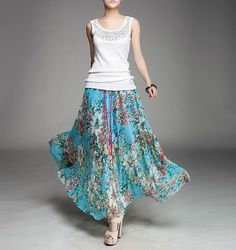 Summer chiffon long skirt lady women clothing gown skirt by jadeok, $54.00