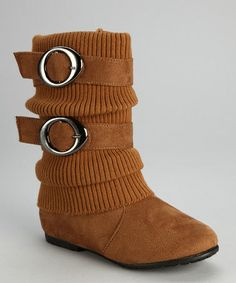 Take a look at this Tan Sweater-Cuff Double-Buckle Boot by Anna Shoes on #zulily today!