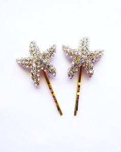 Rhinestone Starfish Hair Pins  Starfish Hair by dreamsbythesea, $60.00