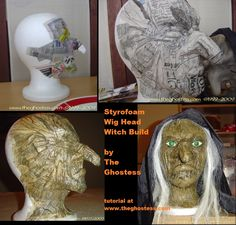 Transform a cheap styro wig head into a fabulous witch!!  Tutorial with plenty of photos at The Ghostess blog