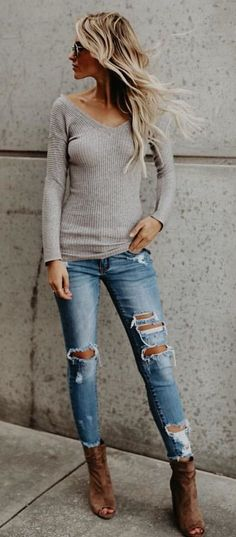 #fall #outfits women's gray off-shoulder sweater