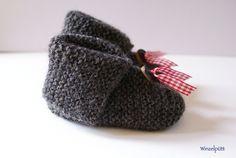 Babyschühchen Shetland Grau    Gut sitzende, kuschelig warme Baby-Schühchen gefertigt aus einem reinem, unbehandelten Schurwoll-Shetland-Garn in anthr