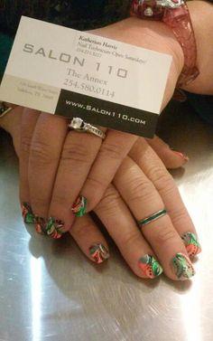 Green orange fun nails
