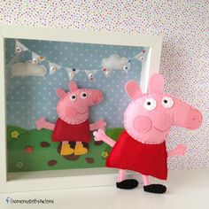 Peppa pig from felt and frame with Peppa & kids name mini banner..!