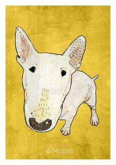 DIGITAL Bullterrier illustration-postcard sized instant download of original illustration painting-print your own