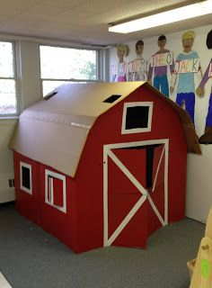 Cardboard Play Barn (from Mrs. Goff's Pre-K Tales)