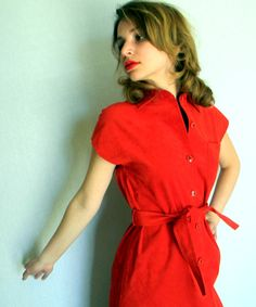 Vintage Suede Shirt Dress Red Lipstick. Medium. Cocktail Dress. Primary Color. Valentines Dress. Shift Dress.