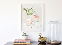Still Life I by Kimmy Hogan is an illustration where the colours are vibrant and crisp and printed with archival ink on lovely cotton rag paper. Greenhouse Interiors, Bathroom Prints, Interiors Magazine, Illustrations, Affordable Art, House And Home Magazine, Drawing, Home And Living, Interior Styling
