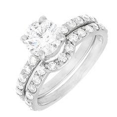Antique Style Diamond Anniversary Set Ring Round Cut 1.90 Carat 14k White Gold #DiamondsByElizabeth #SolitairewithAccents