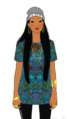 swag drawing Illustration art disney fashion dope style street style street picture princess pocahontas fan art trill