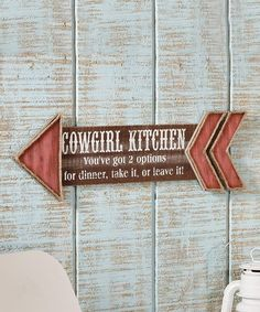 Look what I found on #zulily! 'Cowgirl Kitchen' Arrow Wall Sign #zulilyfinds