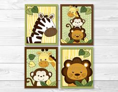 Jungle Animals Nursery Art Prints, Set of 4 Nursery Art Prints, Safari Jungle Animals, Nursery Wall Art Print for Kids Baby Room Decor - - Safari Jungle, Safari Nursery, Jungle Animals, Animal Nursery, Nursery Prints, Nursery Wall Art, Wall Art Prints, Nursery Canvas, Safari Theme