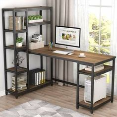 Computer Desk With Shelves, Computer Desk With Hutch, Desk Shelves, Storage Shelves, Corner Desk, Bookcase, Open Shelves, Desk With Storage, Computer Tables