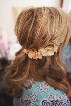 Loose braid with very soft waves and fresh flowers - Dreamy Down 'dos - Wedding Hair 2014 - Wedding Blog | Ireland's top wedding blog with real weddings, wedding dresses, advice, wedding hair s...