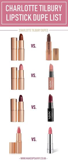 Make up Ultimate Charlotte Tilbury Lipstick Dupe List Nyx Butter Lipstick, Colourpop Lipstick, Nyx Butter Gloss, Lipstick Swatches, Lipsticks, Liquid Lipstick, Nyx Dupes, Blush Dupes, Kylie Jenner Lipstick