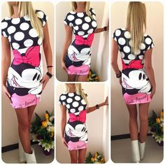 Women Summer Plus Size S-3XL Short Sleeve Slim Bodycon Cartoon