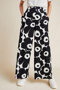 Petite Fashion, 90s Fashion, Rock Fashion, Lolita Fashion, Fashion Boots, Fashion Dresses, Marimekko, Floral Wide Leg Trousers, Mono Floral