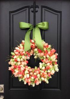 Tulips Front Door Wreath Door Wreaths Spring by twoinspireyou