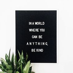 In a world where you can be anything. Be kind.