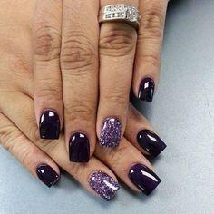 Dark Purple and Glitter Nail Designs.